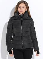 Женская черная короткая куртка пуховик БИО-ПУХ SNOWIMAGE SICB-V111 на молнии с широким воротником Xl, XXL, фото 1
