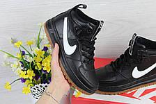 Высокие кожаные кроссовки Nike Lunar Force 1,черно-белые, фото 3
