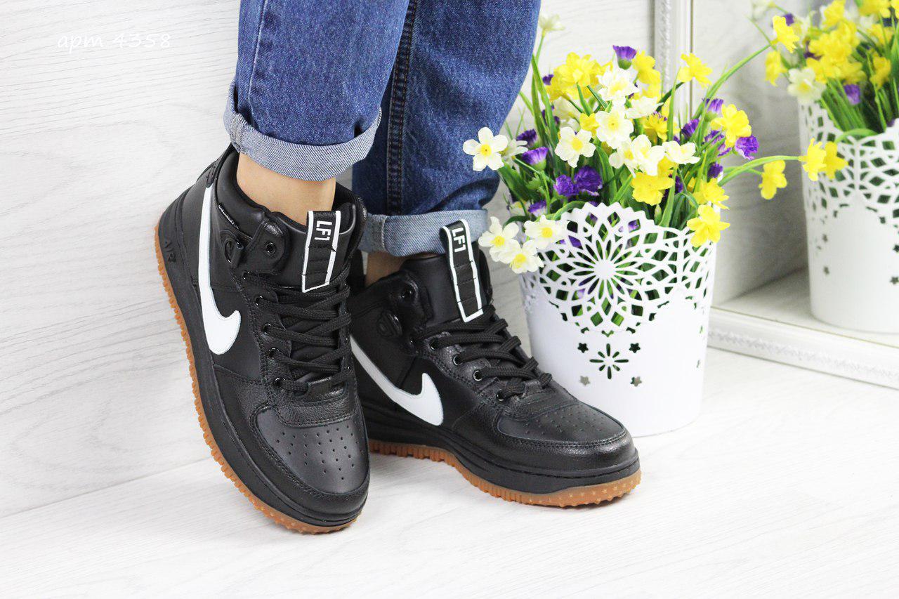 Высокие кожаные кроссовки Nike Lunar Force 1,черно-белые