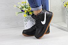 Высокие кожаные кроссовки Nike Lunar Force 1,черно-белые, фото 2