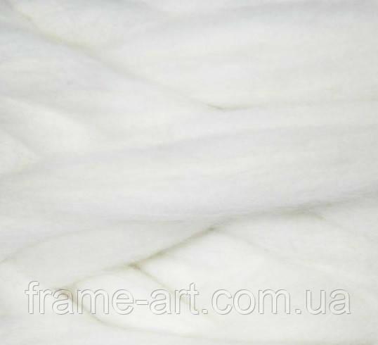 Шерсть для валяния лента, Белый, 26мкм, 40г, Украина