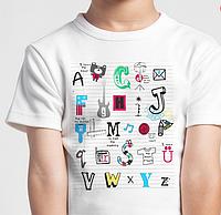 Детские фтболки, английский алфавит