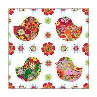 Декупажные салфетки 33*33см 18,5г/м2 Птичцы цветочные