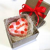 Подарок на День Валентина и 8 марта - Мыло сердце с надписью Люблю