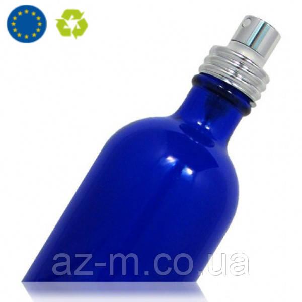 Стеклянный флакон с распылителем (синий) 100 мл.