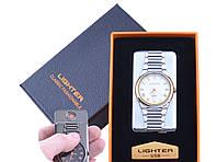 USB зажигалка с часами в подарочной упаковке LIGHTER (Cпираль накаливания)