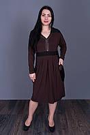 Стильное платье с замком коричневого цвета 5505(размер в наличии  52 54 56 58.), фото 1
