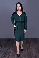 Эффектное платье со вставками сетки бутылочного цвета 5505(размер в наличии  52 54 56 58), фото 1