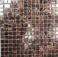 Стеклянная мозаика с авантюрином коричневая Vivacer XG43