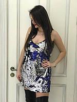 Стильное вечернее женское платье-майка в пайетку