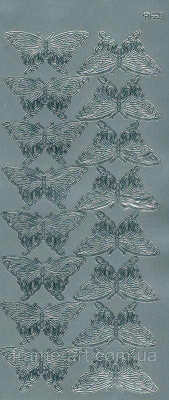 Наклейка 10*23см JEJE Бабочки ажурные, серебро