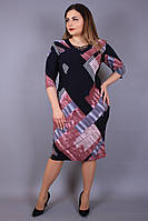 Платье большого размера Переплёт квадрат, трикотажное платье большого размера,нарядное платье большого размера