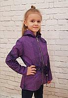Детская тёплая парка р.128-152 фиолетовый