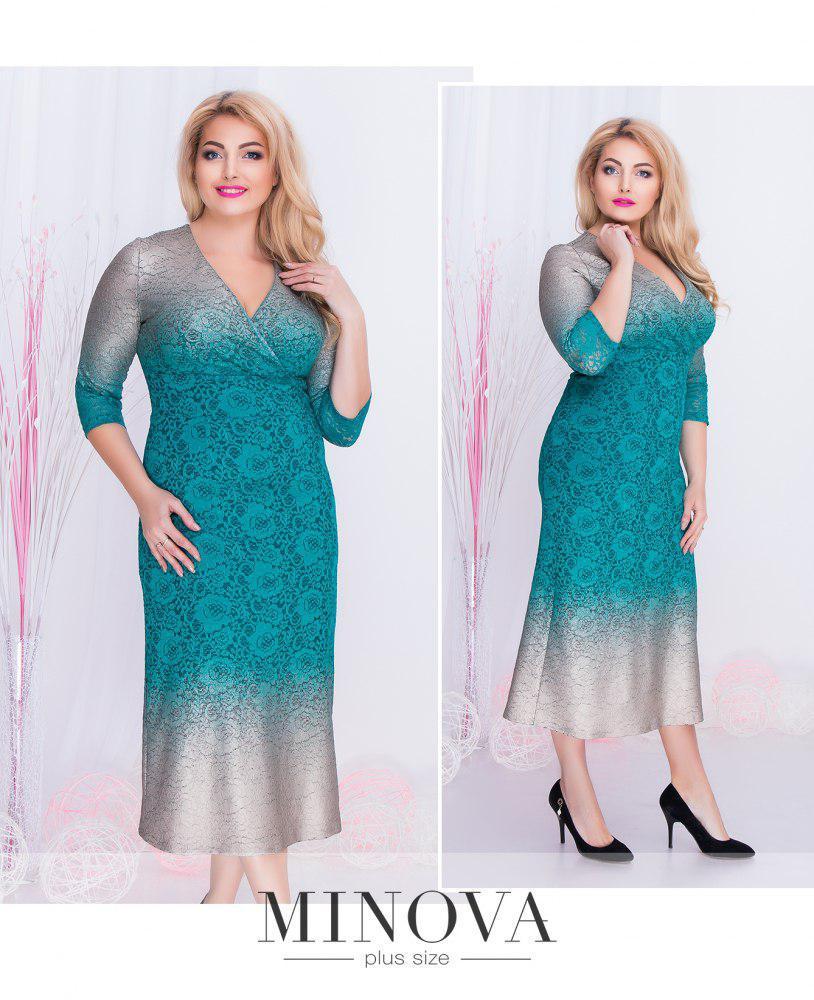 Прямое кружевное платье-миди с V-образным вырезом на запах батал фабрика Minova Размеры: 50,52,54,56