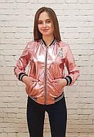 Куртка Бомбер кожзам диско  р.140-158 розовый