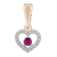Золотая подвеска с бриллиантами и рубином Сердце 000003586