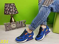 Кроссовки аирмакс сине-оранжевые, фото 1