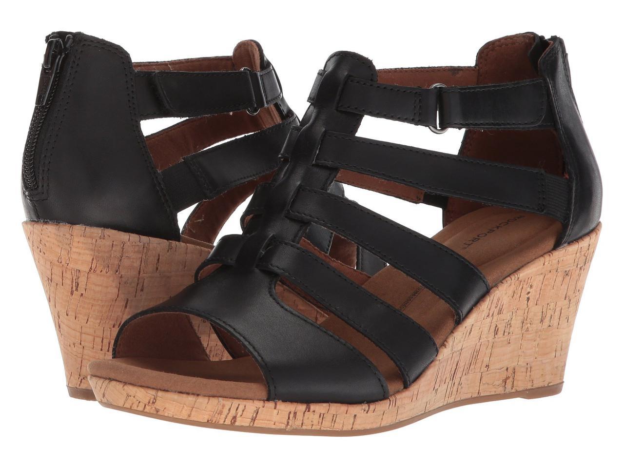 Туфли на каблуке (Оригинал) Rockport Briah Gladiator Black Leather