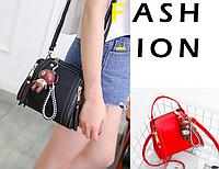 Женская сумка клатч мини с брелком мишкой