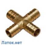 Соединитель шланга Х-образный четверник 4х6мм латунь SE1-2K06 Bradas