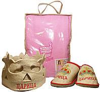 Набор для бани и сауны женский Царица корона (сарафан, тапочки, шапочка)