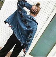Женская джинсовая курточка с лентой, фото 1