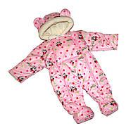 Демисезонный комбинезон человечек Минни Маус, для девочки (розовый). Рост 56-74 см (0-6 мес).