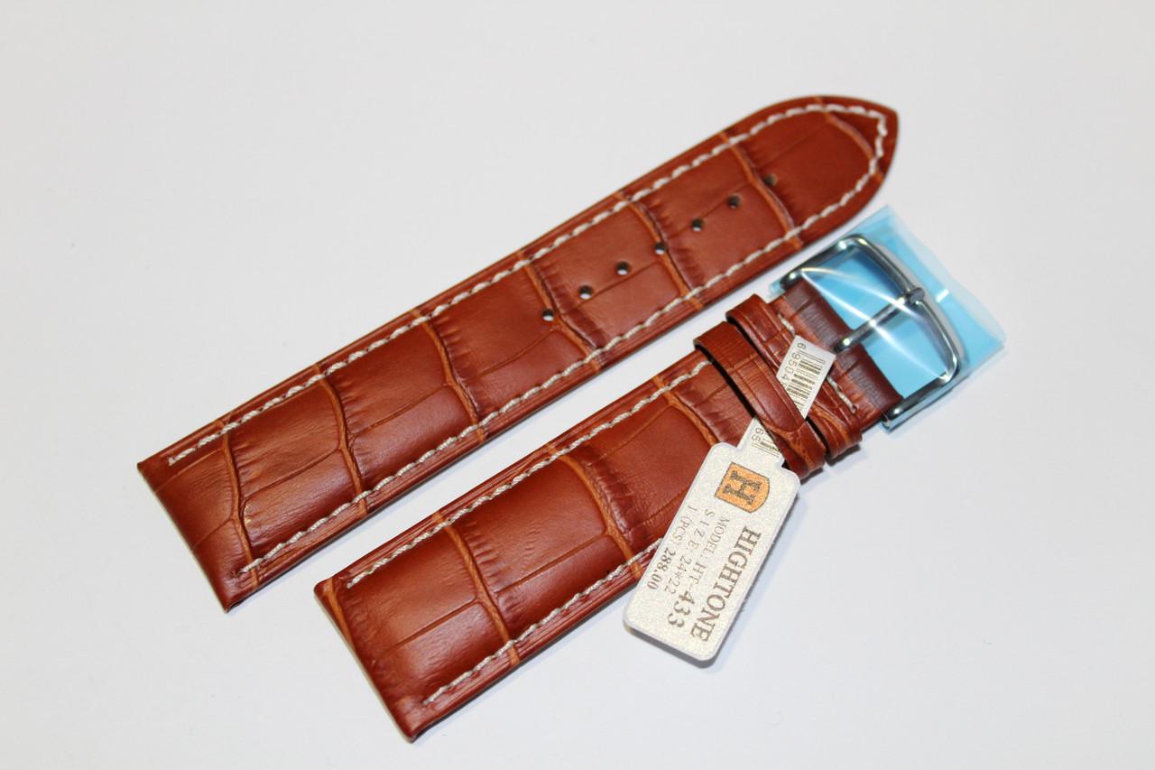 Кожаный ремень для  наручных часов HIGHTONE-светло-коричневый крокодил 24 мм с белой прошивкой.