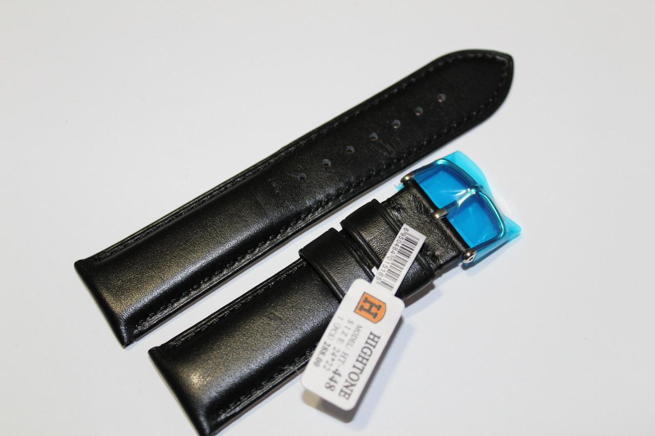 Кожаный ремень для  наручных часов HIGHTONE-черный гладкий 24мм.