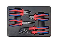 Набор инструментов 4ед, в ложементе (кусачки щипцы пассатижи с изолмрованными рукоятками) King Tony 9-40604GP