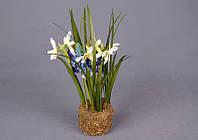 """Искусственный цветок """"подснежники и гиацинты в горшке""""высота=28 см."""
