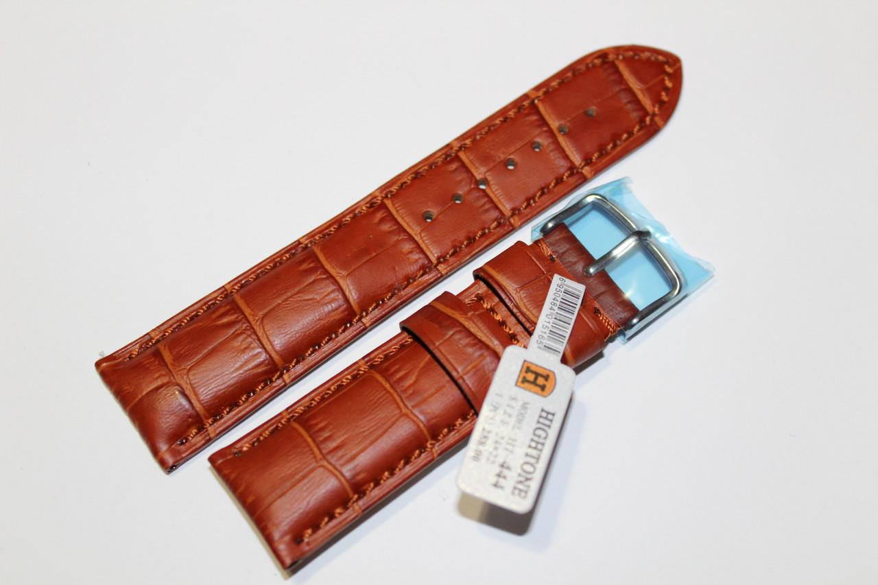 Кожаный ремень для  наручных часов HIGHTONE-светло-коричневый выделкой под крокодил 24 мм.