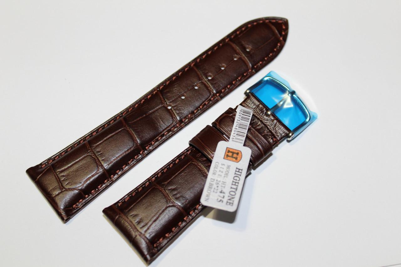 Кожаный ремень для  наручных часов HIGHTONE-коричневый ремень, выделкой под крокодил 26 мм.