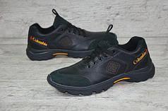 Мужские кожаные кроссовки Columbia черно - желтые топ реплика