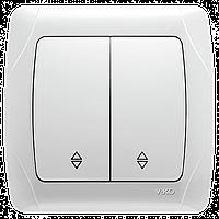 Viko carmen переключатель проходной 2-клавишный белый