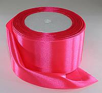 Лента атласная. Цвет - ярко-розовый. Ширина - 5 см, длина - 23 м