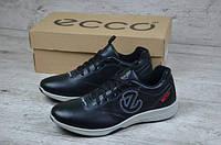 Мужские кожаные кроссовки Ecco черные топ реплика
