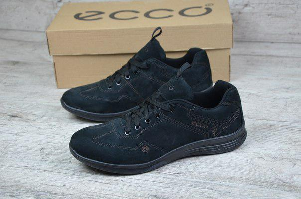 Мужские кроссовки Ecco черные топ реплика