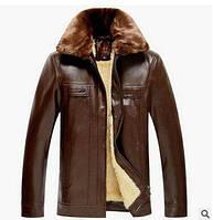 Коричневая мужская куртка с меховым воротником Одесса