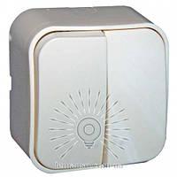 Выключатель накладной 2-й + подсветка LEMANSO LMR2310