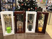 Часы песочные 15 минут, длинна 20 см зелёный песок