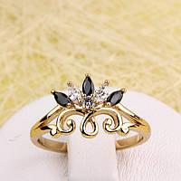 002-2874 - Позолоченное кольцо с чёрными и прозрачными фианитами, 18.5 р