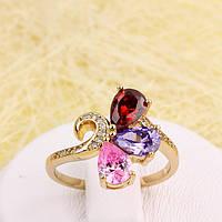 002-2876 - Позолоченное кольцо с цветными и прозрачными фианитами,  18 р