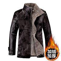 Мужская кожаная куртка на меху черная Одесса
