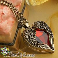 Кулон сердце с крыльями крысный кристалл камень подвеска Ретро крылья ангела