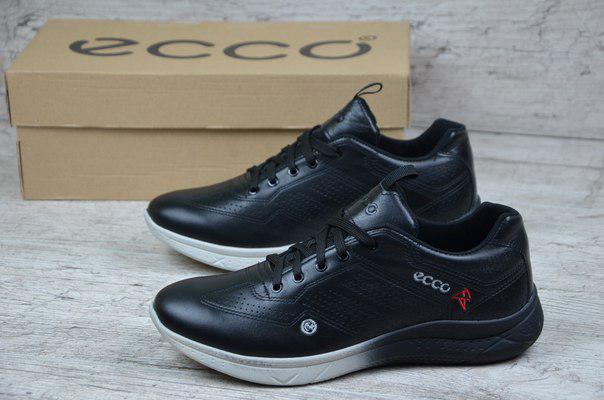 Мужские кроссовки Ecco черные с белой подошвой топ реплика