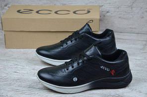 Мужские кроссовки Ecco черные с белой подошвой топ реплика, фото 2