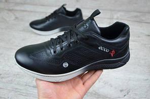 Мужские кроссовки Ecco черные с белой подошвой топ реплика, фото 3