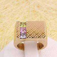 002-2883 - Позолоченный перстень с цветными фианитами и лазерной гравировкой, 16, 18, 18.5 р