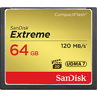 КАРТА ПАМЯТИ SANDISK CF 64GB EXTREME R120/W85MB/S